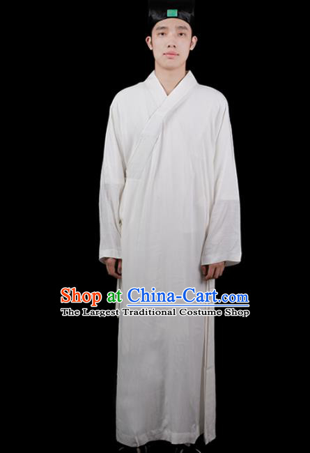 Chinese Traditional Taoism Costume National Taoist Priest White Robe for Men