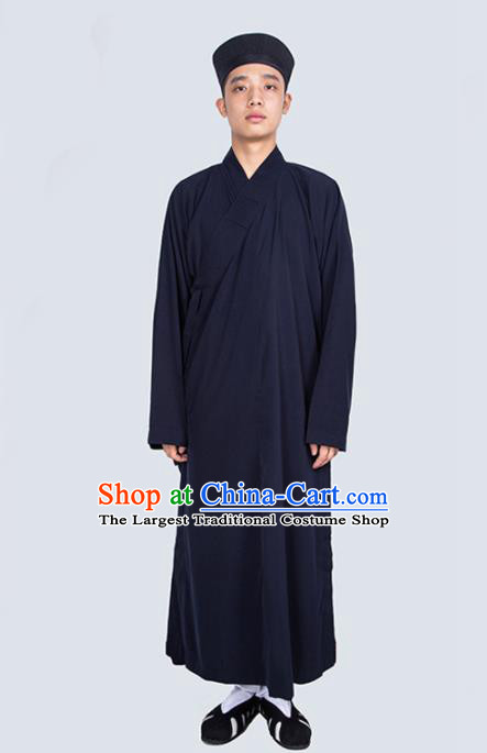 Chinese Traditional Taoism Costume National Taoist Priest Navy Robe for Men