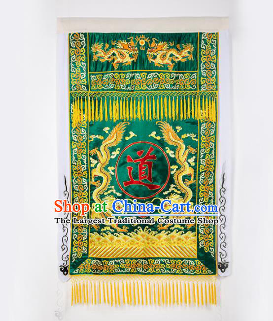 Chinese Traditional Taoism Feng Shui Items National Taoist Embroidered Dragons Green Flag