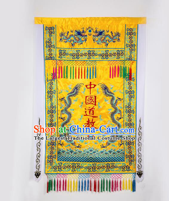 Chinese Traditional Taoism Feng Shui Items National Taoist Embroidered Dragons Golden Flag