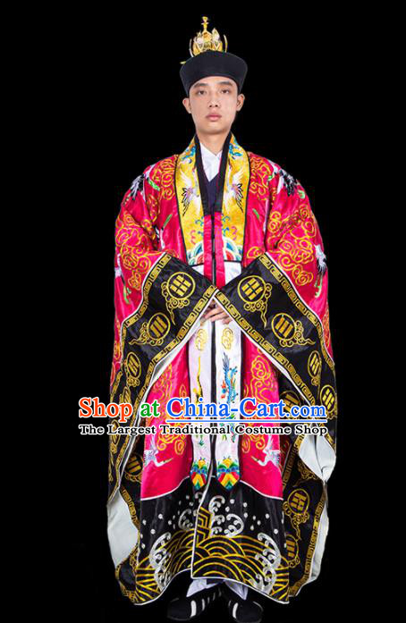 Chinese Traditional Taoism Costume National Taoist Priest Embroidered Cranes Rosy Cassock for Men