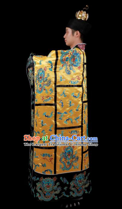 Chinese Traditional Taoism Costume National Taoist Priest Embroidered Dragons Golden Cassock for Men