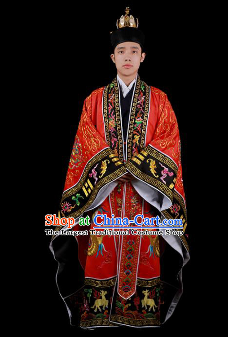 Chinese Traditional Taoism Costume National Taoist Priest Embroidered Cranes Dragons Red Cassock for Men