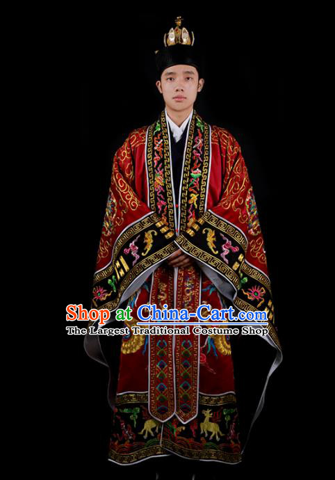 Chinese Traditional Taoism Costume National Taoist Priest Embroidered Cranes Dragons Wine Red Cassock for Men