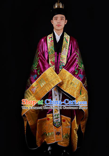 Chinese National Taoist Priest Embroidered Dragons Purple Cassock Traditional Taoism Costume for Men
