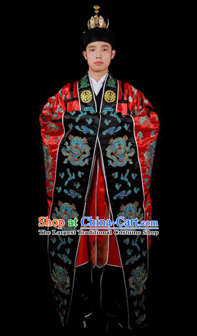 Chinese National Taoist Priest Embroidered Dragons Red Cassock Traditional Taoism Costume for Men