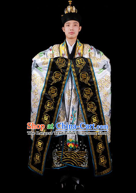 Chinese National Taoist Priest Embroidered Cranes White Cassock Traditional Taoism Costume for Men