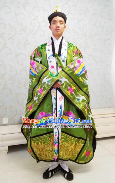 Chinese National Taoism Embroidered Cranes Green Cassock Traditional Taoist Priest Rites Costume for Men