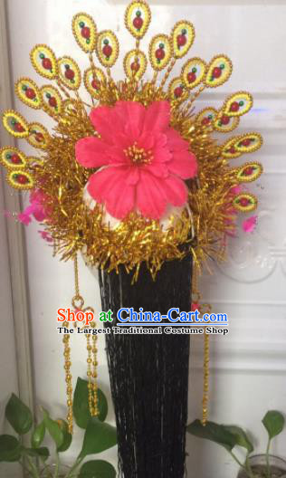 Chinese Traditional Beijing Opera Golden Phoenix Coronet Headwear Peking Opera Diva Hair Accessories for Kids