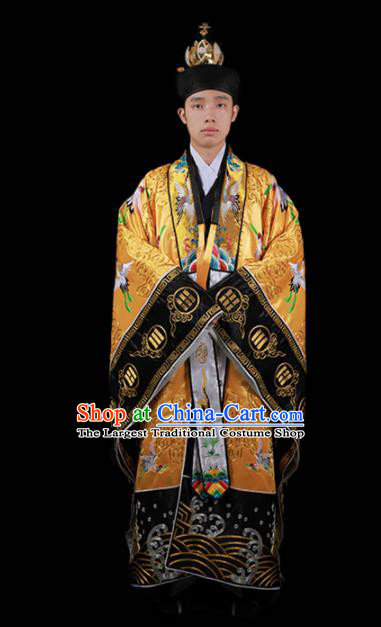 Chinese National Taoism Embroidered Cranes Yellow Cassock Traditional Taoist Priest Rites Costume for Men