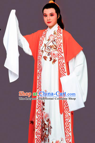 Chinese Traditional Peking Opera Nobility Childe White Embroidered Robe Beijing Opera Niche Costume for Men