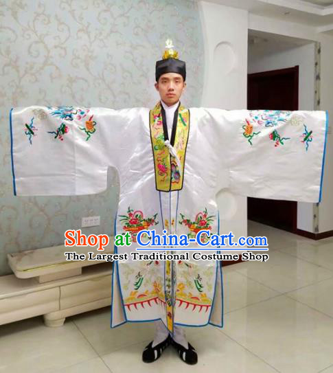 Chinese National Taoism Embroidered Dragons White Priest Frock Cassock Traditional Taoist Priest Rites Costume for Men