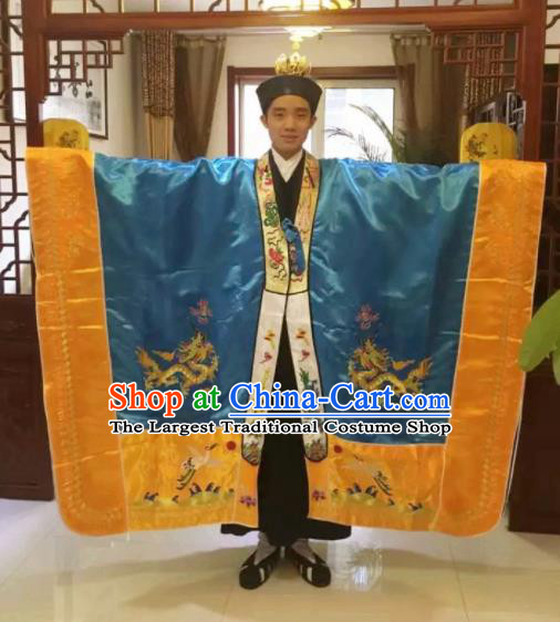 Chinese National Taoism Embroidered Blue Priest Frock Cassock Traditional Taoist Priest Rites Costume for Men