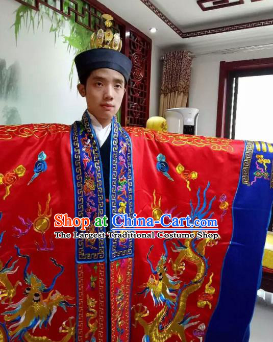Chinese National Taoism Embroidered Red Priest Frock Cassock Traditional Taoist Priest Rites Costume for Men