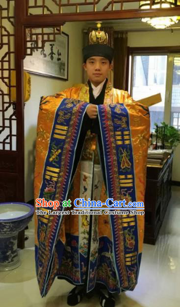 Chinese National Taoism Golden Priest Frock Embroidered Cassock Traditional Taoist Priest Rites Costume for Men