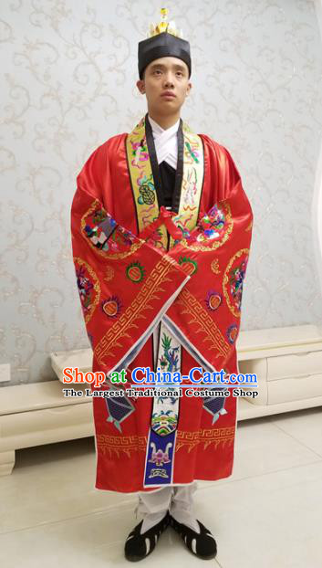 Chinese National Taoism Embroidered Crane Tower Red Cassock Traditional Taoist Priest Rites Costume for Men