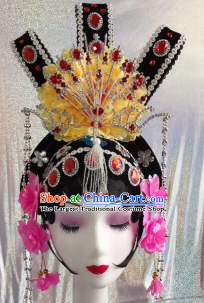 Chinese Traditional Beijing Opera Peri Wigs and Hairpins Headwear Peking Opera Diva Hair Accessories for Women