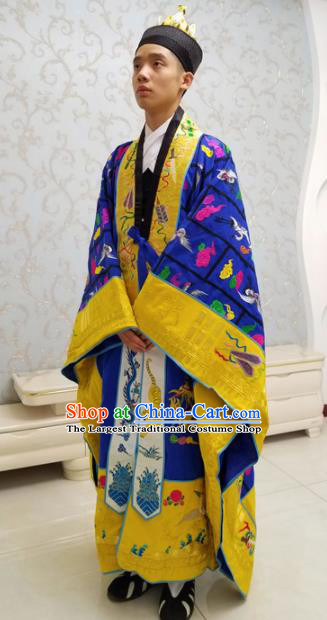 Chinese National Taoism Priest Frock Embroidered Royalblue Cassock Traditional Taoist Priest Rites Costume for Men