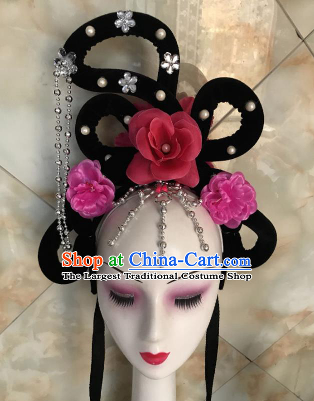 Chinese Traditional Beijing Opera Court Maid Wigs Sheath Peking Opera Princess Hair Accessories for Women