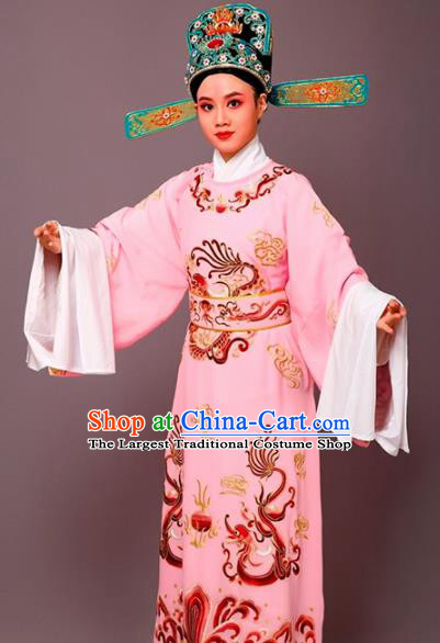Chinese Traditional Peking Opera Number One Scholar Pink Embroidered Robe Beijing Opera Niche Costume for Men