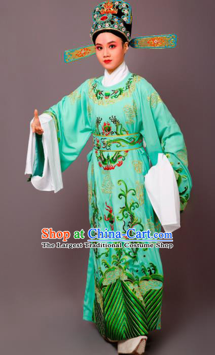 Chinese Traditional Peking Opera Niche Green Embroidered Robe Beijing Opera Number One Scholar Costume for Men