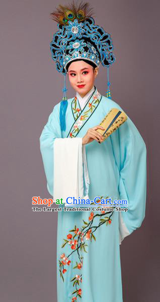 Chinese Traditional Peking Opera Niche Embroidered Cherrim Blue Robe Beijing Opera Scholar Costume for Men