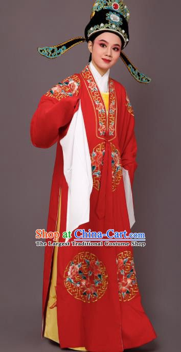 Chinese Traditional Peking Opera Niche Embroidered Peony Red Robe Beijing Opera Scholar Costume for Men