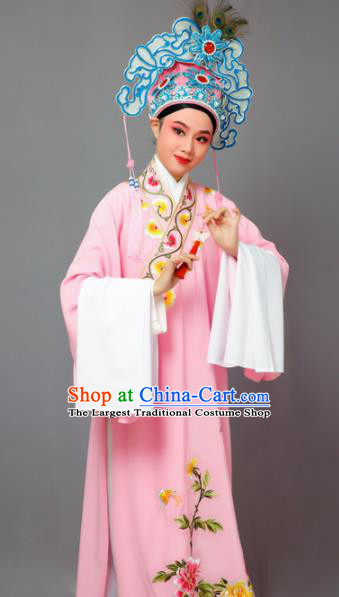Chinese Traditional Peking Opera Niche Pink Robe Beijing Opera Scholar Embroidered Peony Costume for Men