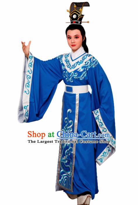 Chinese Traditional Peking Opera Prince Blue Robe Beijing Opera Niche Embroidered Costume for Men