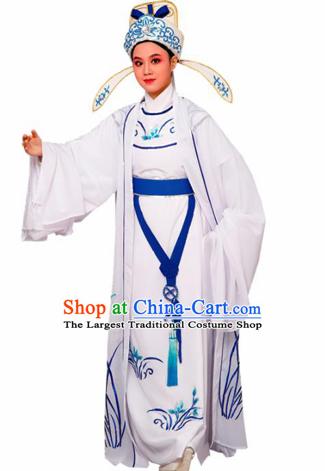 Chinese Traditional Peking Opera Embroidered Orchid White Robe Beijing Opera Niche Costume for Men