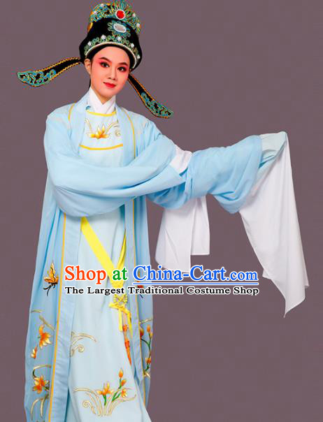 Chinese Traditional Peking Opera Embroidered Orchid Blue Robe Beijing Opera Niche Costume for Men