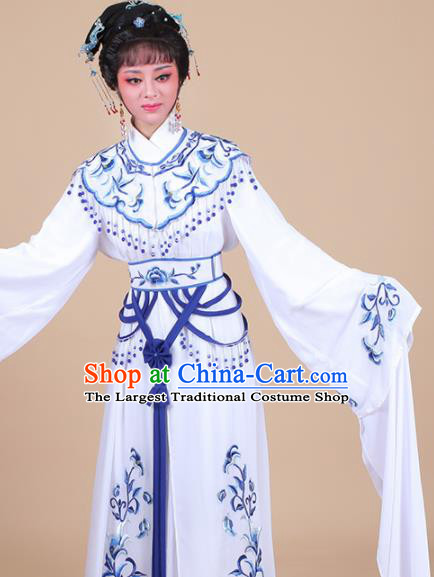 Chinese Traditional Shaoxing Opera Peri Blue Embroidered Dress Beijing Opera Hua Dan Costume for Women