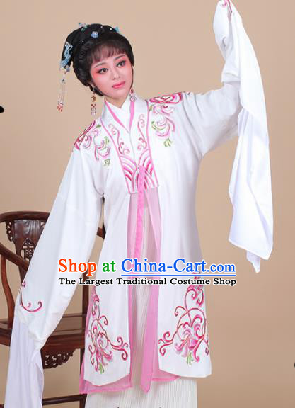Chinese Traditional Shaoxing Opera Madam White Snake Embroidered Dress Beijing Opera Hua Dan Costume for Women