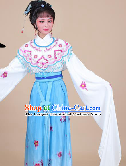Chinese Traditional Shaoxing Opera Peri Princess Blue Embroidered Dress Beijing Opera Hua Dan Costume for Women