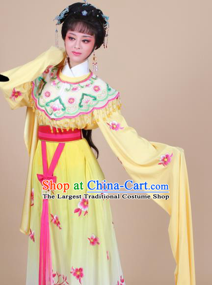 Chinese Traditional Shaoxing Opera Peri Princess Yellow Embroidered Dress Beijing Opera Hua Dan Costume for Women