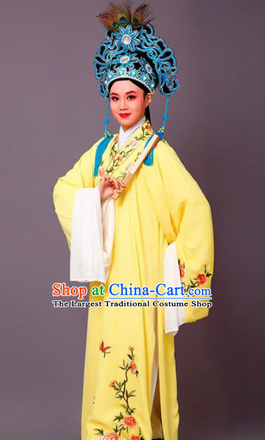 Chinese Traditional Peking Opera Scholar Embroidered Peony Yellow Robe Beijing Opera Niche Costume for Men