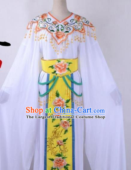 Chinese Traditional Shaoxing Opera Peri Embroidered Yellow Peony Dress Beijing Opera Hua Dan Costume for Women