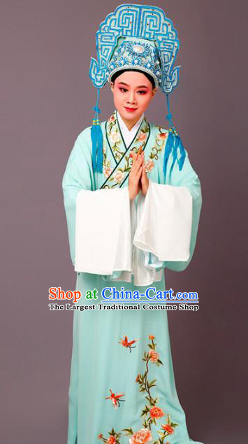 Chinese Traditional Peking Opera Scholar Embroidered Peony Green Robe Beijing Opera Niche Costume for Men