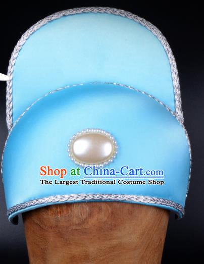 Chinese Traditional Beijing Opera Niche Headwear Peking Opera Scholar Blue Hat for Men