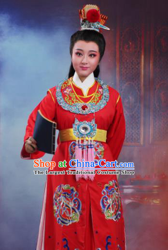Chinese Traditional Peking Opera Crown Prince Embroidered Red Robe Beijing Opera Niche Costume for Men