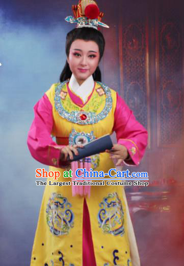 Chinese Traditional Peking Opera Crown Prince Embroidered Yellow Robe Beijing Opera Niche Costume for Men