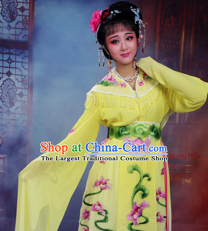 Chinese Traditional Huangmei Opera Peri Embroidered Yellow Dress Beijing Opera Hua Dan Costume for Women