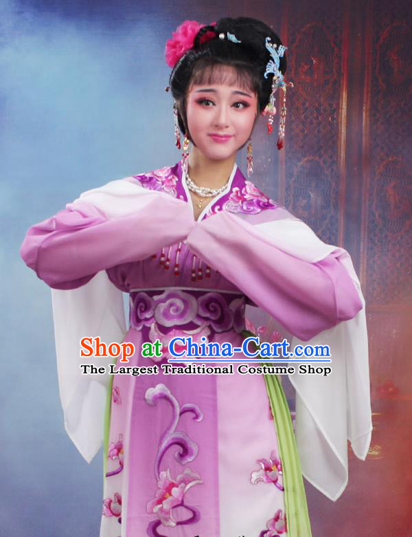 Chinese Traditional Huangmei Opera Peri Embroidered Purple Dress Beijing Opera Hua Dan Costume for Women