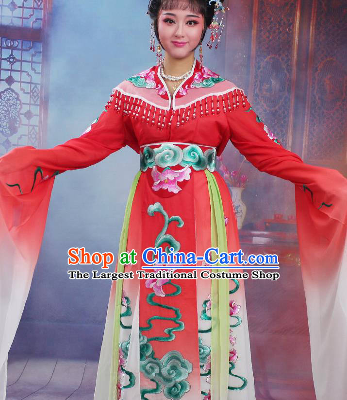 Chinese Traditional Huangmei Opera Peri Embroidered Red Dress Beijing Opera Hua Dan Costume for Women