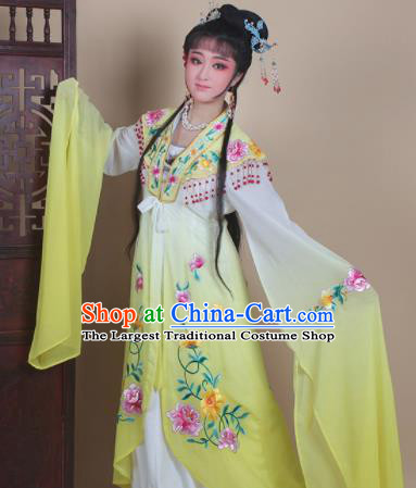Chinese Traditional Huangmei Opera Actress Embroidered Yellow Dress Beijing Opera Hua Dan Costume for Women