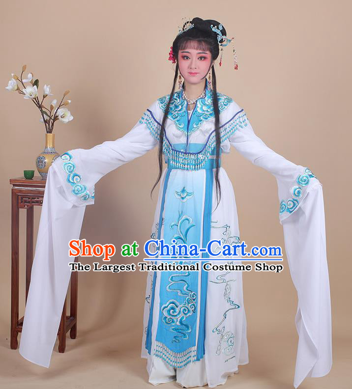 Chinese Traditional Shaoxing Opera Peri Embroidered Blue Dress Beijing Opera Princess Hua Dan Costume for Women