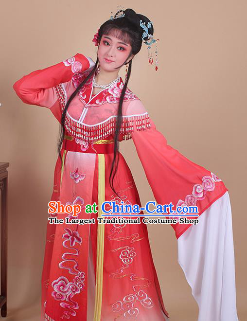 Chinese Traditional Shaoxing Opera Peri Embroidered Red Dress Beijing Opera Princess Hua Dan Costume for Women