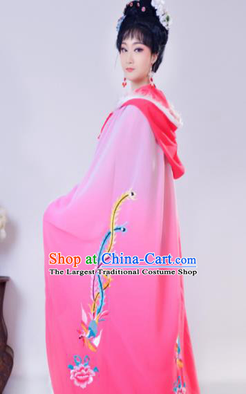 Chinese Traditional Shaoxing Opera Embroidered Rosy Cloak Beijing Opera Princess Hua Dan Costume for Women