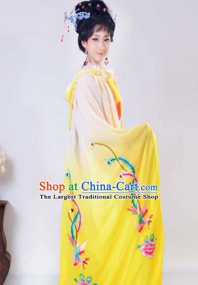 Chinese Traditional Shaoxing Opera Embroidered Yellow Cloak Beijing Opera Princess Hua Dan Costume for Women