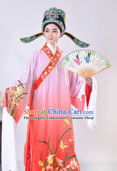 Chinese Traditional Peking Opera Gifted Scholar Embroidered Orchid Rosy Robe Beijing Opera Niche Costume for Men